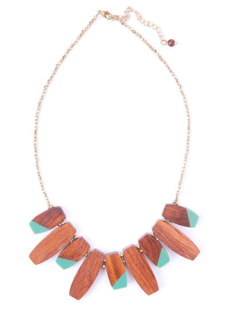 Colorblock Necklace Teal
