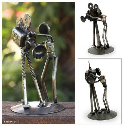 Camera Man- Recycled Metal Sculpture