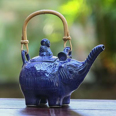 Buddha and Sapphire Elephant- Handcrafted Ceramic Teapot