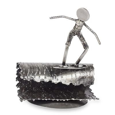Surfer- Recycled Metal and Car Parts Sculpture