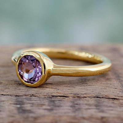 Lilac Nature- Gold Vermeil Jewelry Solitaire Amethyst Ring