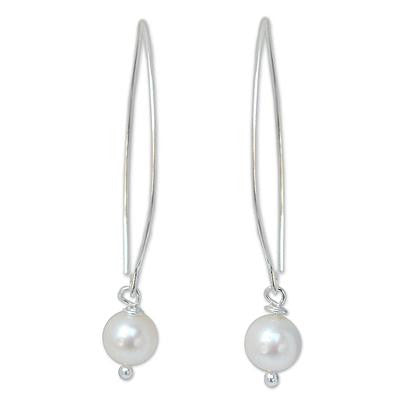 Precious White- Pearl and Sterling Silver Dangle Earrings