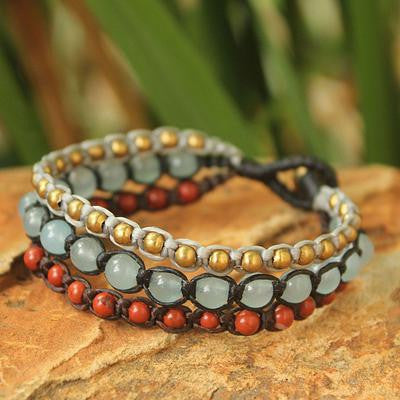 Urban Colors- Brass Beaded Jasper and Quartz Bracelet