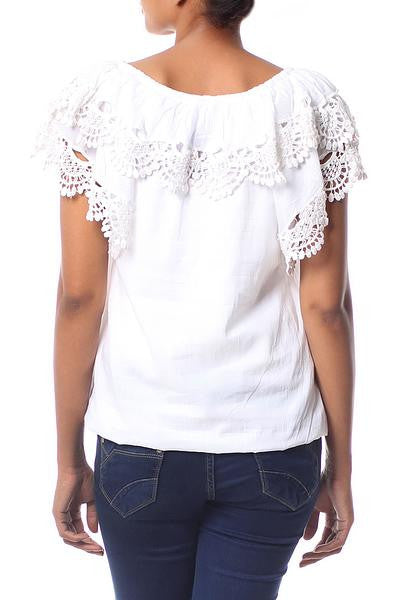 Feminine Illusion- Cotton Blouse with Lace