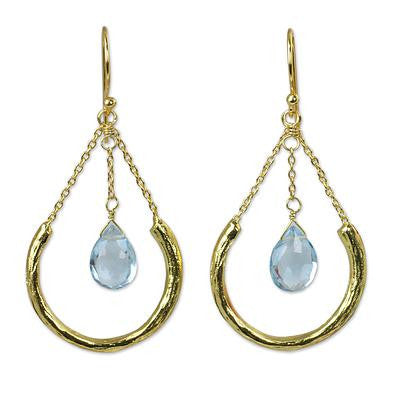 Smiling Moons- Gold Plated Sterling Silver and Blue Topaz Earrings