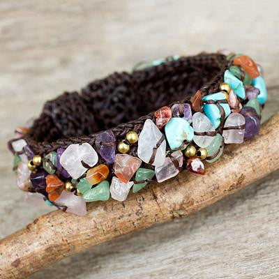 Colorful Day- Fair Trade Multi Gemstone Beaded Crocheted Cuff Bracelet,