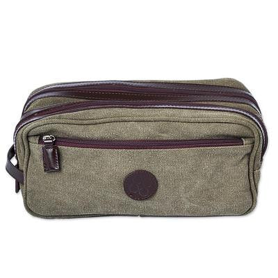Olive Textures- Leather Accent Olive Green Cotton Travel Case