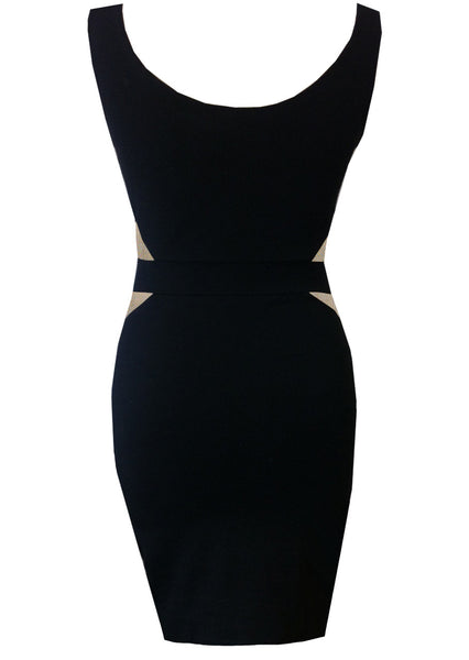 Safa Paneled Bodycon Dress Gold