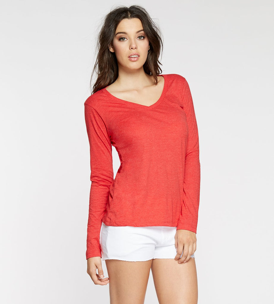 Vanessa long Sleeve V-Neck Coral