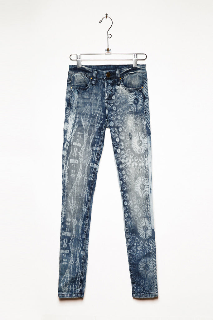 Light Acid Wash Patterned Jeans Denim