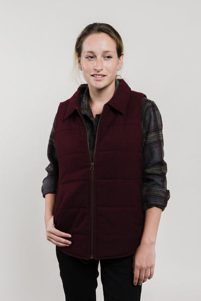 Martel Wool Vest Womens (wine and grey)