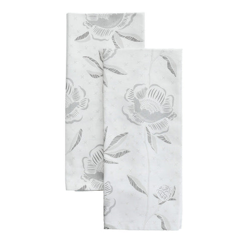 Birch Block Print Peony Tea Towels, Set of 2