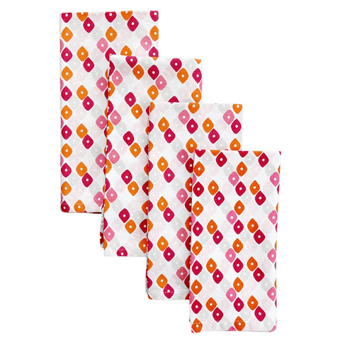 Pomegranate Candy Lattice Napkins, Set of 4