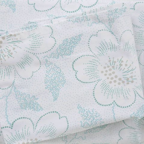 Jade Dot Floral Duvet Cover + Sham Set