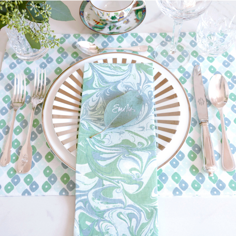 Jade Candy/Chevron + Marble Table Linen Ensemble