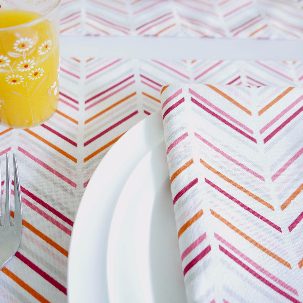 Pomegranate Chevron/Candy + Chevron Table Linen Ensemble