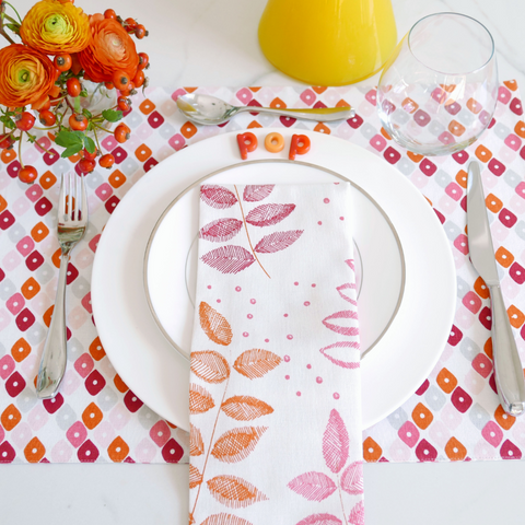 Pomegranate Candy/Chevron + Etched Leaf Table Linen Ensemble