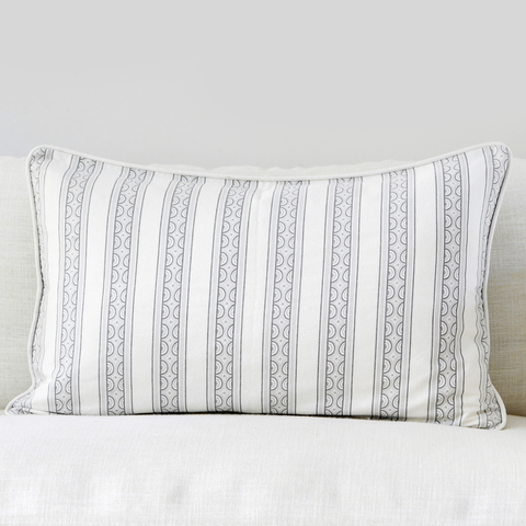"Birch 16"" x 26"" Marble + Stripe Reversible Accent Pillow"
