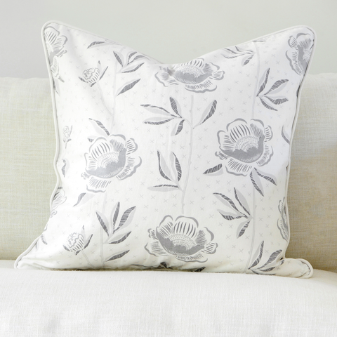 "Birch 20"" x 20"" Block Print Peony + Candy Lattice Reversible Accent Pillow"