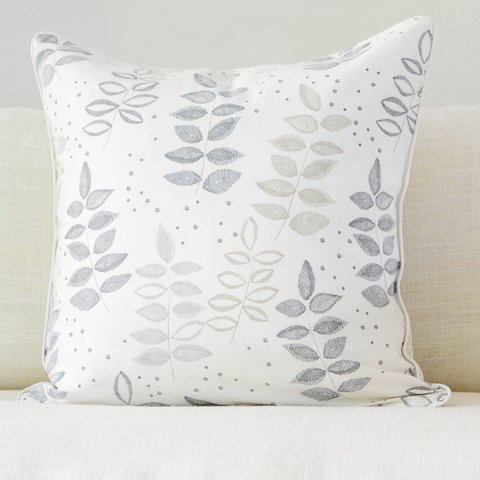 "Birch 20"" x 20"" Etched Leaf + Etched Chevron Reversible Accent Pillow"