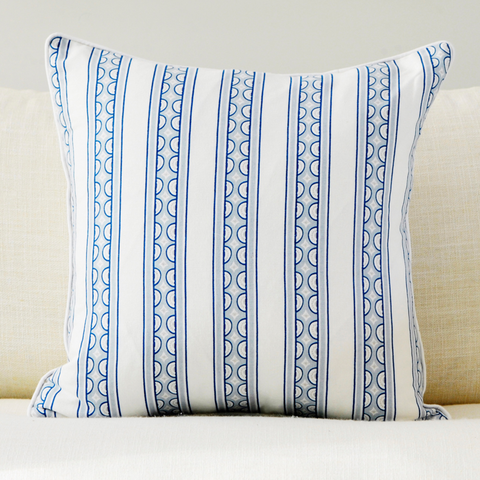 "Celestial 20"" x 20"" Teacup Stripe + Medallion Reversible Accent Pillow Cover"