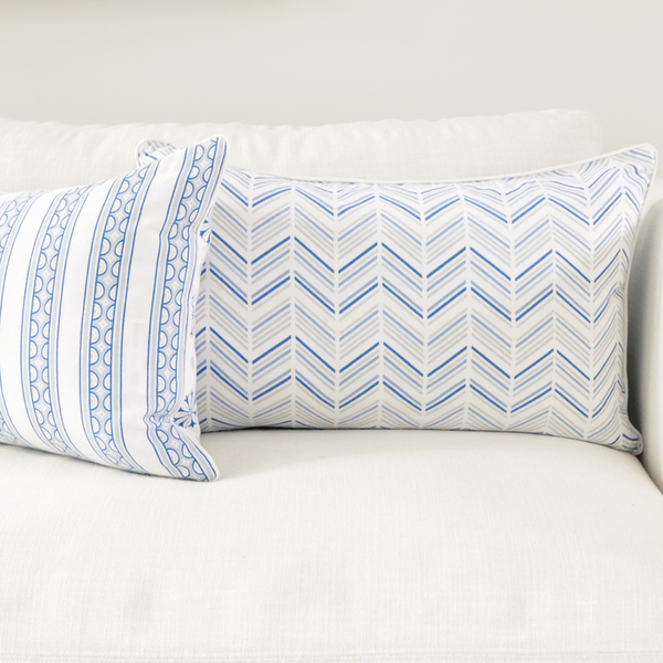 "Celestial 16"" x 26"" Teacup Stripe + Medallion Reversible Accent Pillow Cover"