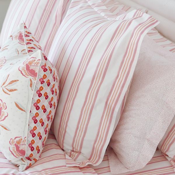 Pomegranate Ribbon Stripe Euro Shams, Set of 2
