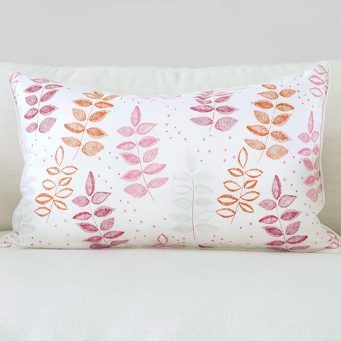 "Pomegranate 16"" x 26"" Modern Chevron + Etched Leaf Reversible Accent Pillow"