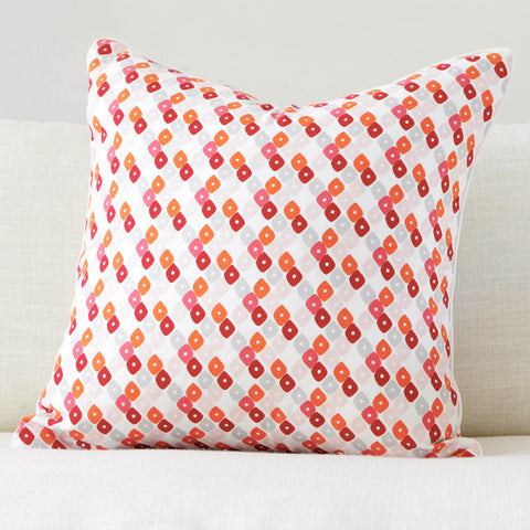 "Pomegranate 20"" x 20"" Block Print Peony + Candy Lattice Reversible Accent Pillow Cover"