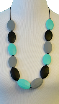 Flat Chew Beads Teething Necklace - Grey/Black/Turquoise - Latched on Love