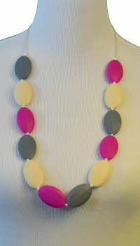 Flat Chew Beads Teething Necklace - Magenta/Cream/Grey - Latched on Love