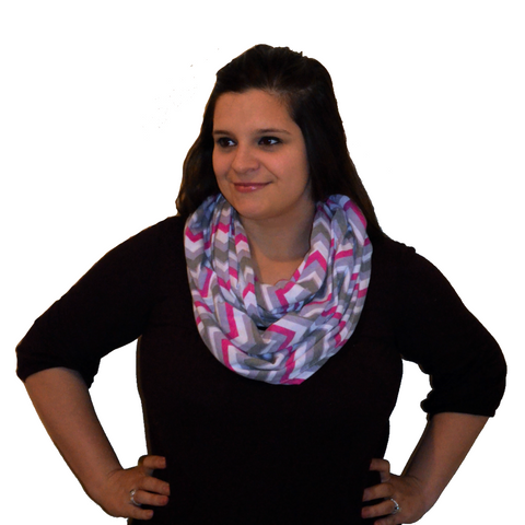 Infinity Nursing Scarf by Latched on Love- Pink Chevron - Latched on Love  - 1