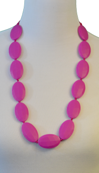 Block Teething Necklace - Magenta - Latched on Love