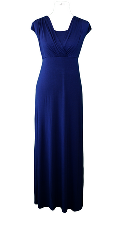 Maxi Nursing Dress in Navy Blue - Latched on Love  - 1