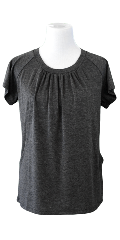 Flowing Short Sleeve Nursing Shirt in Charcoal Gray - Latched on Love  - 1