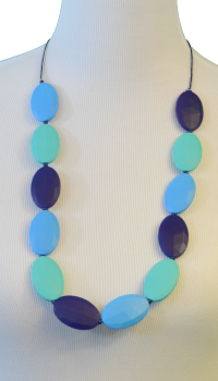 Flat Chew Beads Teething Necklace - Navy/Skyblue/Turquoise - Latched on Love