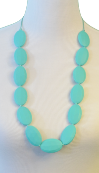 Block Teething Necklace - Turquoise - Latched on Love