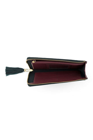 Preston Long Zip Wallet by Shiraleah - Gray with Burgundy