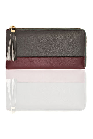 Chez Roulez - Bags and Accessories - Shiraleah - Preston Long Zip Wallet by Shiraleah - Gray with Burgundy - 1