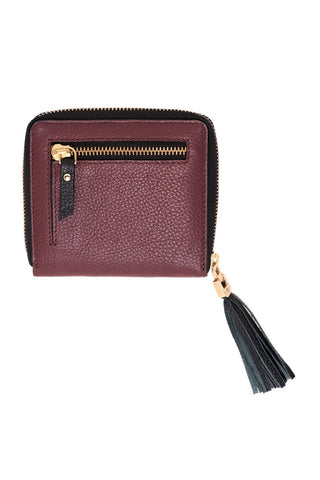 Chez Roulez - Bags and Accessories - Shiraleah - Preston Short Zip Wallet by Shiraleah - Wine - 1