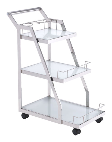 Chez Roulez - Wine Carts and Cabinets - ZUO - ACROPOLIS SERVING CART STAINLESS STEEL - 1