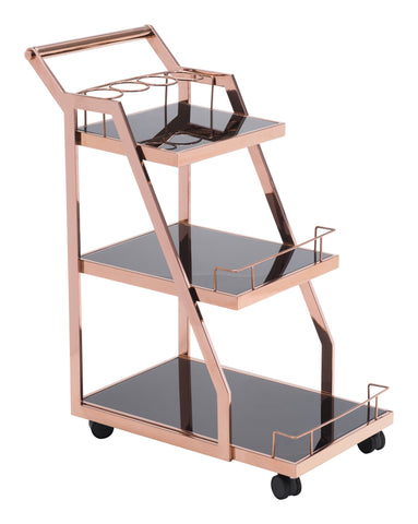 Chez Roulez - Wine Carts and Cabinets - ZUO - ACROPOLIS SERVING CART ROSE GOLD - 1