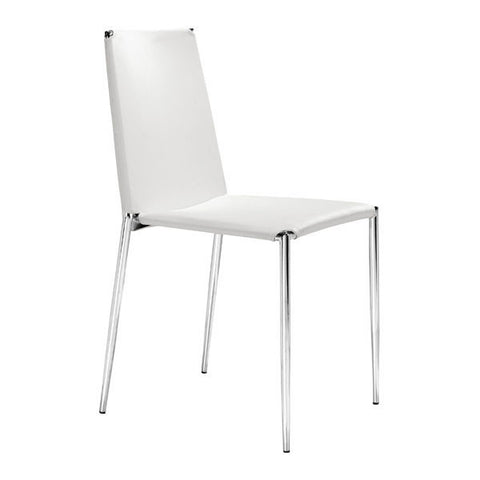 Chez Roulez - Dining Chairs - ZUO - ALEX DINING CHAIR - WHITE  - Set of FOUR chairs - 1