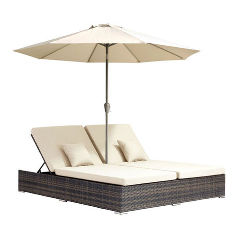 Chez Roulez - Outdoor Furnishings - ZUO - ATLANTIC DOUBLE CHAISE LOUNGE - BROWN - 1