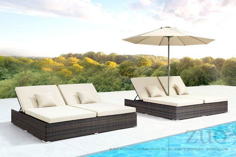 ATLANTIC DOUBLE CHAISE LOUNGE - BROWN