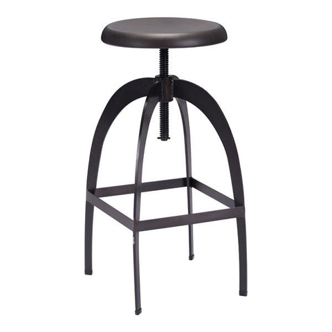 Chez Roulez - Bar Stools and Chairs - ZUO - ARISTOTLE BARSTOOL - ANTIQUE BLACK - 1