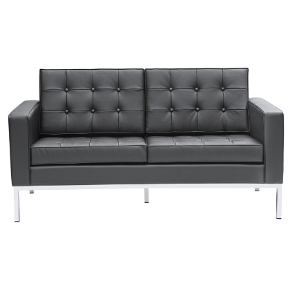 Button Leather Loveseat - Black