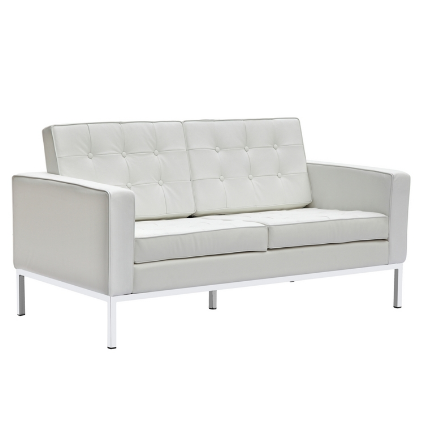 Chez Roulez - Seating - Fine Mod Imports - Button Leather Loveseat - White - 1
