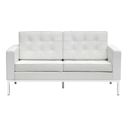 Button Leather Loveseat - White