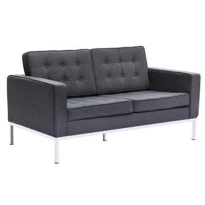 Chez Roulez - Seating - Fine Mod Imports - Button Wool Loveseat - Gray - 1
